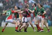 9 March 2014; Gavin Hoey, Westmeath, is surrounded by Mayo players, from left: Seamus O'Shea, Donal Vaughan, Lee Keegan, David Drake, Aidan O'Shea and Colm Boyle. Allianz Football League Division 1 Round 4, Westmeath v Mayo, Cusack Park, Mullingar, Co. Westmeath. Picture credit: Paul Mohan / SPORTSFILE