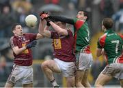 9 March 2014; Lee Keegan, left, and Jason Doherty, Westmeath, in action against Kieran Gavin, Mayo. Allianz Football League Division 1 Round 4, Westmeath v Mayo, Cusack Park, Mullingar, Co. Westmeath. Picture credit: Paul Mohan / SPORTSFILE