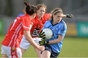 9 March 2014; Noelle Healy, Dublin, in action against Geraldine O'Flynn, left, and Ann Marie Walsh, Cork. Tesco Homegrown Ladies National Football League Division 1 Round 5, Dublin v Cork, Parnell Park, Dublin. Picture credit: Pat Murphy / SPORTSFILE