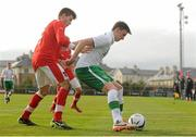 6 March 2014; Conor Masterson, Republic of Ireland, in action against Philipp Seidl, Austria. U17 International Friendly, Republic of Ireland v Austria, Gannon Park, Malahide, Co. Dublin. Picture credit: Pat Murphy / SPORTSFILE