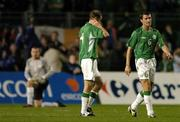 7 September 2005; Dejected Republic of Ireland players Roy Keane, Kenny Cunningham and Shay Given, after Thierry Henry, France, had scored his sides first goal. FIFA 2006 World Cup Qualifier, Group 4, Republic of Ireland v France, Lansdowne Road, Dublin. Picture credit; David Maher / SPORTSFILE