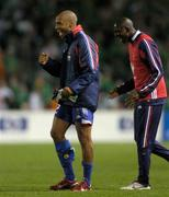 7 September 2005; France's Thierry Henry, left, and team-mate Alou Diarra celebrate at the end of the game. FIFA 2006 World Cup Qualifier, Group 4, Republic of Ireland v France, Lansdowne Road, Dublin. Picture credit; Brian Lawless / SPORTSFILE