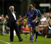 7 September 2005; French manager Raymond Domenech congratulates Thierry Henry after he was substituted. FIFA 2006 World Cup Qualifier, Group 4, Republic of Ireland v France, Lansdowne Road, Dublin. Picture credit; Brian Lawless / SPORTSFILE