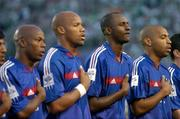 7 September 2005; Thierry Henry, Patrick Vieira, second from right, Jean-Alain Boumsong, second from left, and Silvain Wiltord, left, France, stand for the national anthem. FIFA 2006 World Cup Qualifier, Group 4, Republic of Ireland v France, Lansdowne Road, Dublin. Picture credit; Brian Lawless / SPORTSFILE