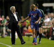 7 September 2005; Thierry Henry is congratulaed by French manager Raymond Domenech after being substituted. FIFA 2006 World Cup Qualifier, Group 4, Republic of Ireland v France, Lansdowne Road, Dublin. Picture credit; Brian Lawless / SPORTSFILE