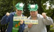 7 September 2005; Ireland fans Kevin Moore, Dungarvan, Co. Waterford and Jim Kinsella, Enniscorthy, Co. Wexford were celebrating after winning tickets to the big match from www.carlsbergmoments.ie, a website created by Carlsberg for fans to vote for their favourite World Cup moment - Kevin voted for Kevin Sheedy's goal against England in Italia '90, while Jim voted for McAteers goal against the Dutch in the 2002 qualifiers. Ray Houghton's goal against Italy in USA '94 is currently leading the poll. Berkeley Court Hotel, Dublin. Picture credit; Brendan Moran / SPORTSFILE