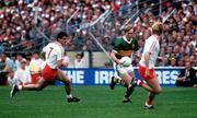 21 September 1986; Kerry's Pat Spillane in action against Paddy Ball, left, and Plunkett Donaghy, Tyrone. Kerry v Tyrone, All-Ireland Football Final, Croke Park, Dublin. Picture credit; Ray McManus / SPORTSFILE