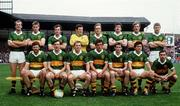 21 September 1986; The kerry team, back from left, Jack O'Shea, Tom Spillane, Mikey Sheehy, Charlie Nelligan, Ger Lynch, Willie Maher, Pat Spillane and Sean Walsh. Front, from left, Eoin Liston, Tommy Doyle, Paidi O Se, Ambrose O'Donovan, Mick Spillane, Ger Power and Denis Ogie Moran. Kerry v Tyrone, All-Ireland Football Final, Croke Park, Dublin. Picture credit; Ray McManus / SPORTSFILE