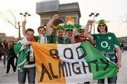 14 March 2014; Ireland supporters, from left, Sean Wallace, Mark Phelan, Darragh Dalton, Noel Gleeson, Eoin Cartright and John McConway at the Arc de Triomphe in Paris ahead of their side's RBS Six Nations Rugby Championship match against France on Saturday. Eiffel Tower, Paris, France. Picture credit: Stephen McCarthy / SPORTSFILE