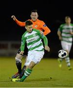 14 March 2014; Luke Byrne, Shamrock Rovers, in action against Sean Brennan, Athlone Town. Airtricity League Premier Division, Athlone Town v Shamrock Rovers, Athlone Town Stadium, Athlone, Co. Westmeath. Picture credit: Paul Mohan / SPORTSFILE