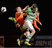 14 March 2014; Jason McGuinness, Shamrock Rovers, in action against Alan Byrne, Athlone Town. Airtricity League Premier Division, Athlone Town v Shamrock Rovers, Athlone Town Stadium, Athlone, Co. Westmeath. Picture credit: Paul Mohan / SPORTSFILE
