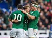 15 March 2014; Andrew Trimble, Ireland, celebrates after scoring his side's second try with team-mates Jonathan Sexton, 10, and Jamie Heaslip, right. RBS Six Nations Rugby Championship 2014, France v Ireland. Stade De France, Saint Denis, Paris, France. Picture credit: Stephen McCarthy / SPORTSFILE