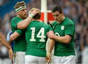 15 March 2014; Andrew Trimble, Ireland is congratulated by teammates Jamie Heaslip, left, and Jonathan Sexton after scoring his side's second try. RBS Six Nations Rugby Championship 2014, France v Ireland, Stade De France, Saint Denis, Paris, France. Picture credit: Matt Browne / SPORTSFILE