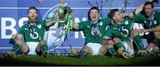 15 March 2014; Ireland's Gordon D'Arcy, Brian O'Driscoll, Jamie Heaslip and Dave Kearney celebrate the with RBS Six Nations Rugby Championship 2014 trophy. RBS Six Nations Rugby Championship 2014, France v Ireland, Stade De France, Saint Denis, Paris, France. Picture credit: Matt Browne / SPORTSFILE