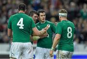 15 March 2014; Jonathan Sexton, Ireland, is congratulated by team-mates, from left, Devin Toner, Peter O'Mahony and Jamie Heaslip after scoring his side's third try. RBS Six Nations Rugby Championship 2014, France v Ireland, Stade De France, Saint Denis, Paris, France. Picture credit: Stephen McCarthy / SPORTSFILE