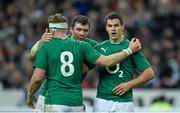 15 March 2014; Jonathan Sexton, right, Ireland, is congratulated by team-mates Peter O'Mahony and Jamie Heaslip, 8, after scoring his side's third try. RBS Six Nations Rugby Championship 2014, France v Ireland, Stade De France, Saint Denis, Paris, France. Picture credit: Stephen McCarthy / SPORTSFILE