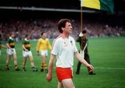 21 September 1986; Tyrone captain Eugene McKenna leads his side in the pre-match parade. Kerry v Tyrone, All-Ireland Football Final, Croke Park, Dublin. Picture credit; Ray McManus / SPORTSFILE