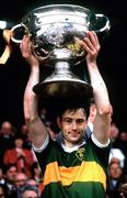 21 September 1986; Kerry captain Tommy Doyle lifts the Sam Maguire Cup. Kerry v Tyrone, All-Ireland Football Final, Croke Park, Dublin. Picture credit; Ray McManus / SPORTSFILE