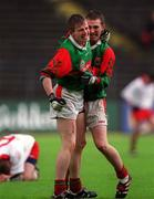 9 May 1999; Fergal Hobin, left celebrates Mayo's victory with teammate Brian McMenamon also pictured is Tyrone's Fran Loughran. Mayo v Tyrone, All-Ireland Vocational Schools' Intercounty Football Final, Páirc Ui Chaoimh, Cork. Picture credit; Ray McManus/SPORTSFILE