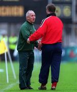 25 April 1999; Meath manager Sean Boylan, left,  shakes hands with Cork manager Larry Tompkins during the Church & General National Football League Division 1 Semi-Final match between Cork and Meath at Croke Park in Dublin. Photo by Ray McManus/Sportsfile