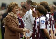 2 October 2005; Uachtaran na hEireann Mary McAleese meets the teams before the match. TG4 Ladies All-Ireland Senior Football Championship Final, Galway v Cork, Croke Park, Dublin. Picture credit: Brian Lawless / SPORTSFILE