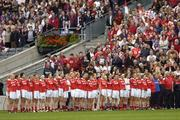2 October 2005; The Cork Squad and backroom staff stand for the national anthem Amhran na bhFiann. TG4 Ladies All-Ireland Senior Football Championship Final, Galway v Cork, Croke Park, Dublin. Picture credit: Damien Eagers / SPORTSFILE