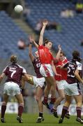 2 October 2005; Cork pair Norita Kelly and Briege Corkery, go up for a high ball with Galway players from left Emer Flaherty, Annette Clarke and Patricia Gleeson. TG4 Ladies All-Ireland Senior Football Championship Final, Galway v Cork, Croke Park, Dublin. Picture credit: Damien Eagers / SPORTSFILE