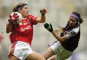 2 October 2005; Valerie Mulcahy, Cork, in action against Anne-Marie McDonough, Galway. TG4 Ladies All-Ireland Senior Football Championship Final, Galway v Cork, Croke Park, Dublin. Picture credit: Brian Lawless / SPORTSFILE
