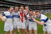 17 March 2014; St Vincent's players, from left to right, Tomas Quinn, Michael Concarr, Shane Carthy, Jarlath Curley, Luke Bree and Kevin Bonnie celebrate after the match. AIB GAA Football All-Ireland Senior Club Championship Final, Castlebar Mitchels, Mayo, v St Vincent's, Dublin. Croke Park, Dublin. Picture credit: Ramsey Cardy / SPORTSFILE