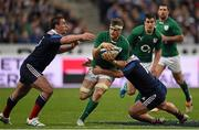 15 March 2014; Jamie Heaslip, Ireland, is tackled by Louis Picamoles, left, and Rabah Slimani, France. RBS Six Nations Rugby Championship 2014, France v Ireland, Stade De France, Saint Denis, Paris, France. Picture credit: Stephen McCarthy / SPORTSFILE