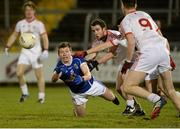 19 March 2014; Joe Dillon, Cavan, in action against Brendan Burns, Tyrone. Cadbury Ulster GAA Football U21 Championship, Quarter-Final, Cavan v Tyrone, Kingspan Breffni Park, Cavan. Picture credit: Oliver McVeigh / SPORTSFILE