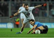 8 March 2014; Michael Fitzsimons, Dublin, in action against Darroch Mulhall, Kildare. Allianz Football League, Division 1, Round 4, Dublin v Kildare, Croke Park, Dublin. Picture credit: Piaras Ó Mídheach / SPORTSFILE