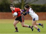 21 March 2014; Doireann O'Sullivan, University College Cork, in action against Charlotte Cooney, University of Limerick. O'Connor Cup, Semi-Final, University of Limerick v University College Cork. Queen's University, Belfast, Co. Antrim. Picture credit: Oliver McVeigh / SPORTSFILE