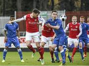 22 March 2014; Mark Quigley, St Patrick's Athletic, in action against Shane Tracy, Limerick FC. Airtricity League Premier Division, St Patrick's Athletic v Limerick FC, Richmond Park, Dublin. Picture credit: Ray McManus / SPORTSFILE