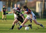 22 March 2014; Charlotte Cooney, University of Limerick, in action against Cara McCrossan, Queen's University Belfast. O'Connor Cup, Final, Queens University Belfast v University of Limerick. Queen's University, Belfast, Co. Antrim. Picture credit: Oliver McVeigh / SPORTSFILE