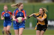 22 March 2014; Sarah Bohannon, Mary Immaculate College Limerick, in action against Fiona Hudson, NUI Maynooth. Giles Cup, Final, Mary Immaculate College Limerick v NUI Maynooth. Queen's University, Belfast, Co. Antrim. Picture credit: Oliver McVeigh / SPORTSFILE