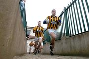 16 October 2005; Tony McEntee, Crossmaglen Rangers captain, leads his team out for the start of the game. Armagh County Senior Football Final, Crossmaglen Rangers v Dromintee, Crossmaglen, Armagh. Picture credit: David Maher / SPORTSFILE