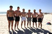20 October 2005; Sean Og O hAilpin, Sean Cavanagh, Brian Dooher, Pete McGrath, Sean Kelly and Ross Munnelly before a swim, in the Indian Ocean, at Cottesloe Beach advance of the Fosters International Rules game between Australia and Ireland. Cottesloe, Perth, Western Australia. Picture credit; Ray McManus / SPORTSFILE