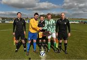 23 March 2014; Carew Park FC captain Mark Keane, left, and St Michael's FC, captain James Walsh exchange a handshake in the company of match officials, from left to right, Brian Healy, referee Stuart Templeton and Derek O'Shea before the game. FAI Junior Cup, Quarter-Final, Carew Park FC v St Michaels FC, Carew Park, Limerick. Picture credit: Diarmuid Greene / SPORTSFILE
