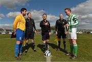 23 March 2014; Referee Stuart Templeton performs the coin toss in the company of Carew Park FC captain Mark Keane, left, and St Michael's FC, captain James Walsh along with match officials Brian Healy, left, and Derek O'Shea. FAI Junior Cup, Quarter-Final, Carew Park FC v St Michaels FC, Carew Park, Limerick. Picture credit: Diarmuid Greene / SPORTSFILE