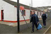 16 March 2014; Jim Gavin, Dublin manager, left, and Declan Darcy, selector, arrives at the ground. Allianz Football League, Division 1, Round 5, Derry v Dublin, Celtic Park, Derry. Picture credit: Oliver McVeigh / SPORTSFILE