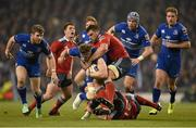 29 March 2014; Jamie Heaslip, Leinster, is tackled by CJ Stander and Denis Hurley, right, Munster. Celtic League 2013/14, Round 18, Leinster v Munster, Aviva Stadium, Lansdowne Road, Dublin. Picture credit: Stephen McCarthy / SPORTSFILE
