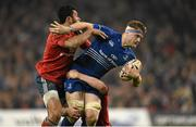 29 March 2014; Jamie Heaslip, Leinster, is tackled by Casey Laulala, left, and Denis Hurley, Munster. Celtic League 2013/14, Round 18, Leinster v Munster, Aviva Stadium, Lansdowne Road, Dublin. Picture credit: Stephen McCarthy / SPORTSFILE
