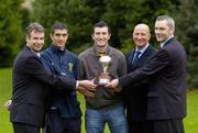 10 November 2005; At the announcement by the Professional Footballers' Association of Ireland of the nominees for the PFAI awards for season 2005 are,  from left to right, Mark Mahaffy, Irish Mirror, Gary Dicker, nominated for Young Player of the Year, Jason Byrne, current Players Player of the year, Paul Tuite, nominated for the Referee of the Year, and Seamus White, Pepsi, Herbert Park, Dublin. Picture credit: Damien Eagers / SPORTSFILE