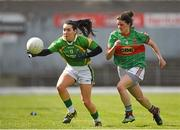 30 March 2014; Sarah Houlihan, Kerry, in action against Amy Bell, Mayo. TESCO Homegrown Ladies National Football League, Division 1, Round 6, Kerry v Mayo, Fitzgerald Stadium, Killarney, Co. Kerry. Picture credit: Barry Cregg / SPORTSFILE