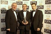 11 November 2005; Tyrone's Brian Dooher, An Taoiseach, Bertie Ahern, T.D, and Dessie Farrell, Chief Executive of the GPA at the 2005 GPA Opel Awards. Citywest Hotel, Dublin. Picture credit: Damien Eagers / SPORTSFILE
