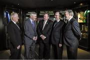 2 April 2014; Uachtarán Chumann Lúthchleas Gael Liam Ó Néill with hall of Fame inductees, from left, Kilkenny's Noel Skehan, Kerry's Mick O'Dwyer, Sligo's Micheal Kearins and Waterford's Pat McGrath who were today announced as  inductees into the GAA Museum Hall of Fame. GAA Museum, Croke Park, Dublin. Picture credit: Matt Browne / SPORTSFILE