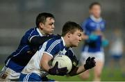 2 April 2014; Conor McCarthy, Monaghan, in action against Barry Fortune, Cavan. Cadbury Ulster GAA Football U21 Championship Semi-Final, Monaghan v Cavan, Athletic Grounds, Armagh. Picture credit: Oliver McVeigh / SPORTSFILE