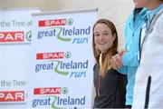 4 April 2014; Fionnuala Britton, 2011 & 2012 European Cross Country Champion during a press conference ahead of Sunday's 2014 SPAR Great Ireland Run in the Phoenix Park. Saint Brigid's National School, Beechpark Lawn, Castleknock, Dublin. Picture credit: Matt Browne / SPORTSFILE - read more