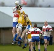 27 November 2005; Joe Diver, Bellaghy, rises for a high ball with Aodhan Gallagher, St. Galls. Ulster Club Senior Football Championship Final, Bellaghy v St. Galls, Healy Park, Omagh, Co. Tyrone. Picture credit: Damien Eagers / SPORTSFILE
